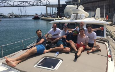 friends 2019 Barcelone on board Menorquin Yacht